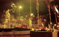 Evening Ganga Aarti with open flames, at Dashashwamedh ghat, Varanasi